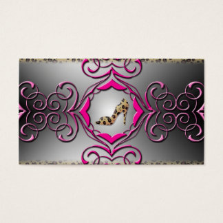 Pink and Leopard Print Fancy  Business Card