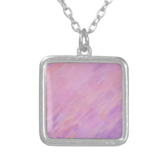 Pink and lilac abstract silver plated necklace