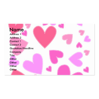 Pink and lilac heart design pack of standard business cards