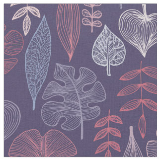 Pink and lilac leaves fabric
