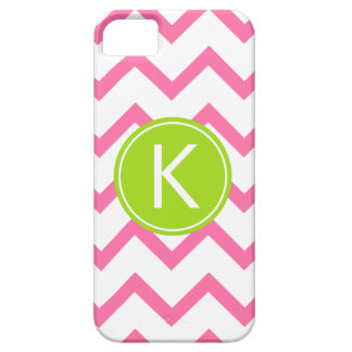 Pink and Lime Chevron Stripes Monogram Case