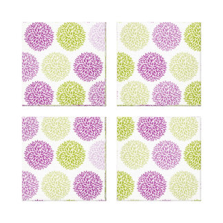 Pink and Lime Flower Blossoms Canvas Prints