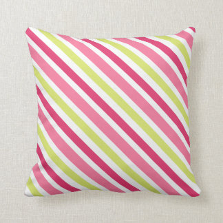 Pink and lime green diagonal stripes custom pillow