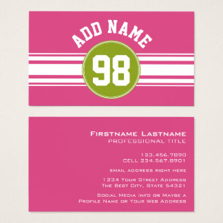 Pink and Lime Sports Jersey Custom Name Number Business Card