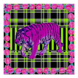 Pink and Lime Tiger Graphic Print