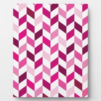 Pink and Magenta Herringbone Pattern Photo Plaque