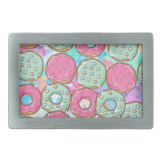 PINK AND MINT COOKIES DONUT SPRINKLE CRUSH RECTANGULAR BELT BUCKLE