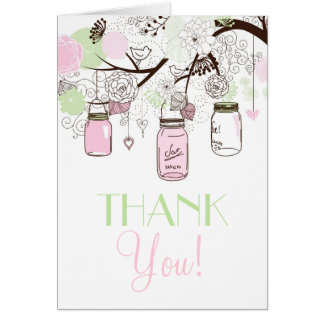 Pink and Mint Green Mason Jars Thank You Card