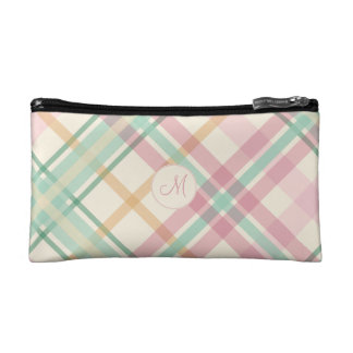 Pink and mint pastels plaid with monogram cosmetic bag