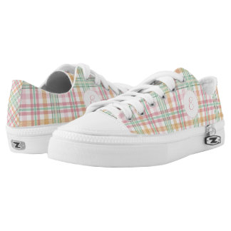Pink and mint pastels plaid with monogram low tops