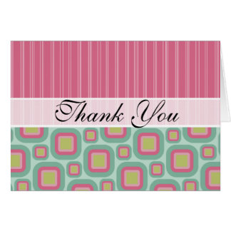 Pink and Mint Retro Stationery Note Card