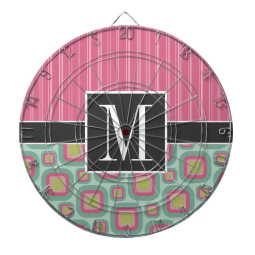 Pink and Mint Retro Dart Board