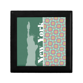 Pink and Mint Retro, New York; Statue of Liberty Keepsake Boxes
