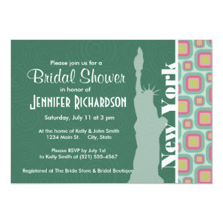 Pink and Mint Retro, New York; Statue of Liberty 13 Cm X 18 Cm Invitation Card