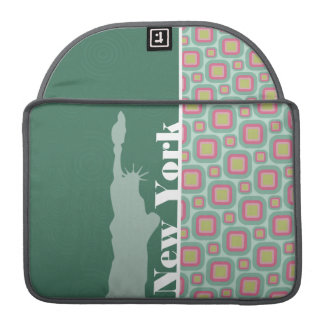 Pink and Mint Retro, New York; Statue of Liberty Sleeves For MacBooks