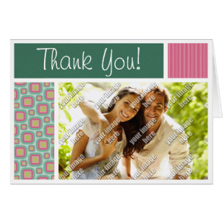 Pink and Mint Retro Pattern Stationery Note Card