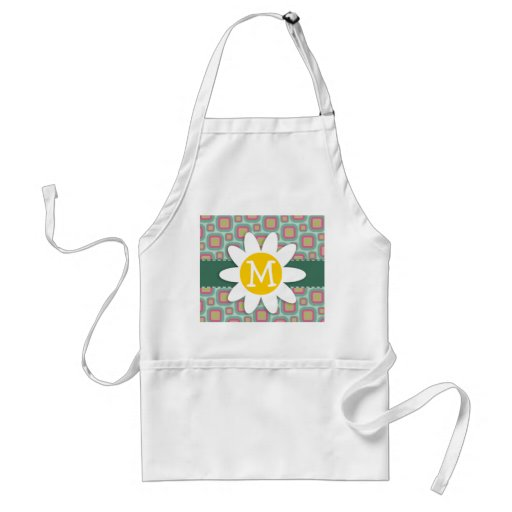 Pink and Mint Retro Pattern; Daisy Aprons