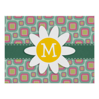 Pink and Mint Retro Pattern; Daisy Poster