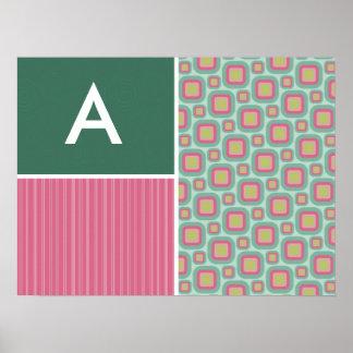 Pink and Mint Retro Pattern Print
