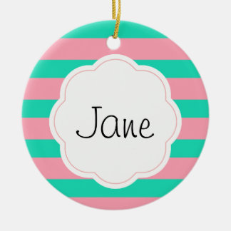 Pink and Mint Stripes Ceramic Ornament