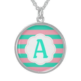 Pink and Mint Stripes Sterling Silver Necklace