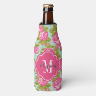 Pink and Mint Vintage Roses Monogram Bottle Cooler