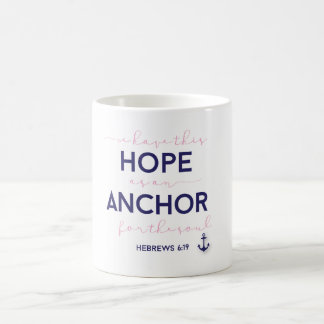 Pink and Navy, Anchor Hebrews 6:19 Mug