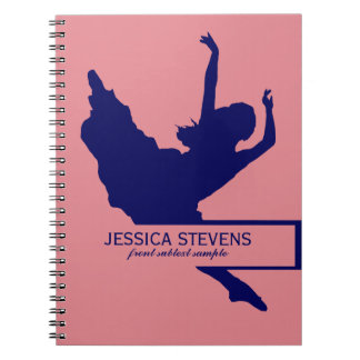 Pink And Navy Blue Dancer Silhouette Illustration Spiral Notebooks