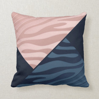 Pink and Navy Blue Gradient Zebra Stripe Triangle Cushion