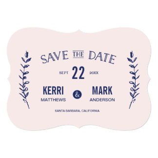 Pink and Navy Blue Laurels Save The Date Card