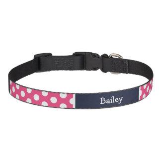 Pink and Navy Blue Polka Dots Monogram Dog Collars