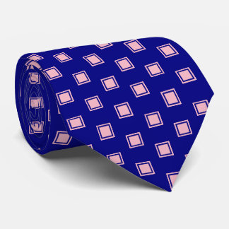 Pink and Navy Blue Square Pattern Men's Tie