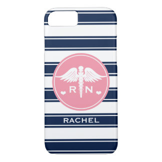 PINK AND NAVY STRIPE CADUCEUS NURSE RN iPhone 8/7 CASE
