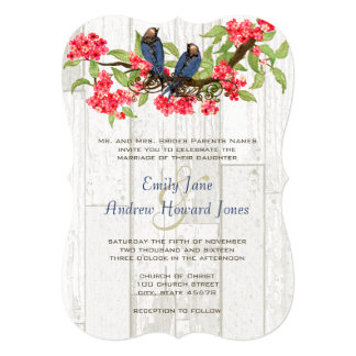 Pink and Navy Vintage Love Birds Tea Stain Personalized Invitations