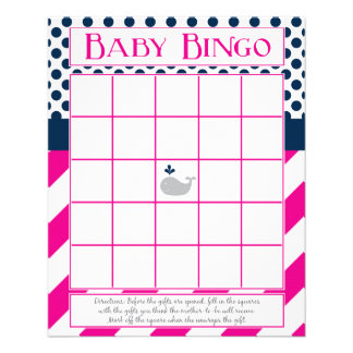 Pink and Navy Whale Baby Shower Bingo Flyer