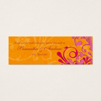 Pink and Orange Abstract Floral Favour Tags Mini Business Card
