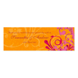 Pink and Orange Abstract Floral Favour Tags Pack Of Skinny Business Cards