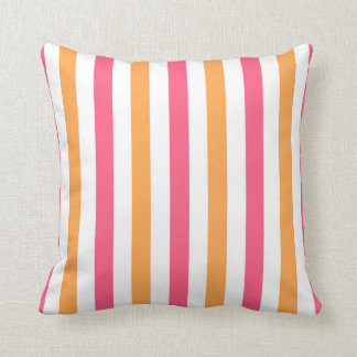 Pink and Orange and White Striped Throw Pillow