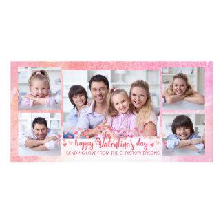 Pink and Orange Brush Script 5-Photo Valentine Card