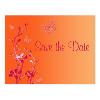 Pink and Orange Butterflies Save the Date Postcard