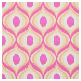 Pink and orange color moroccan ikat design fabric