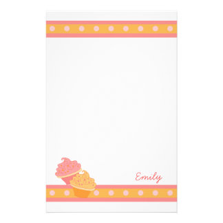 Pink and Orange  Cupcakes Stationery