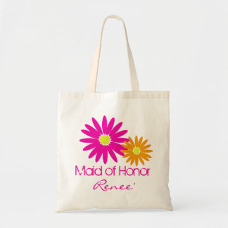 Pink and Orange Daisies Tote Bags