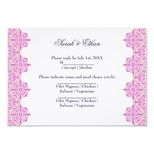 Pink and Orange Damask Wedding RSVP Cards