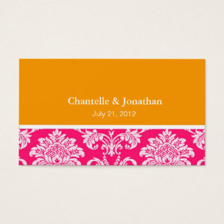 Pink and Orange Elegant Damask Business Card