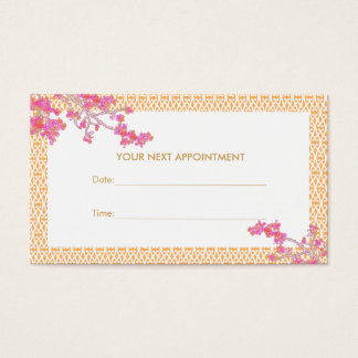 Pink and Orange Floral Salon Spa Appointment Card