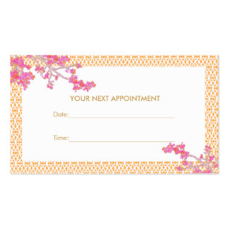 Pink and Orange Floral Salon Spa Appointment Card Pack Of Standard Business Cards