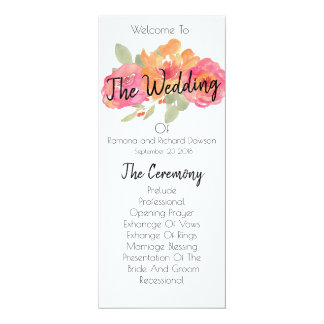 Pink and orange floral wedding program