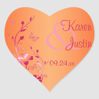 Pink and Orange Floral Wedding Sticker