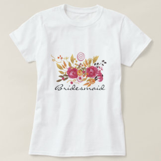 Pink and Orange Flower Bouquet Bridesmaid T-Shirt